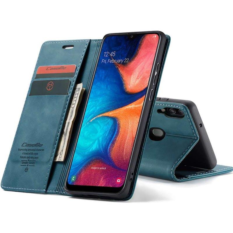 Caseme Galaxy A20e Retro Wallet Case Blue