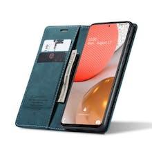 Caseme Galaxy A72 Retro Wallet Case Blue