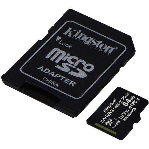 Kingston 64 GB MicroSD met adapter Class 10