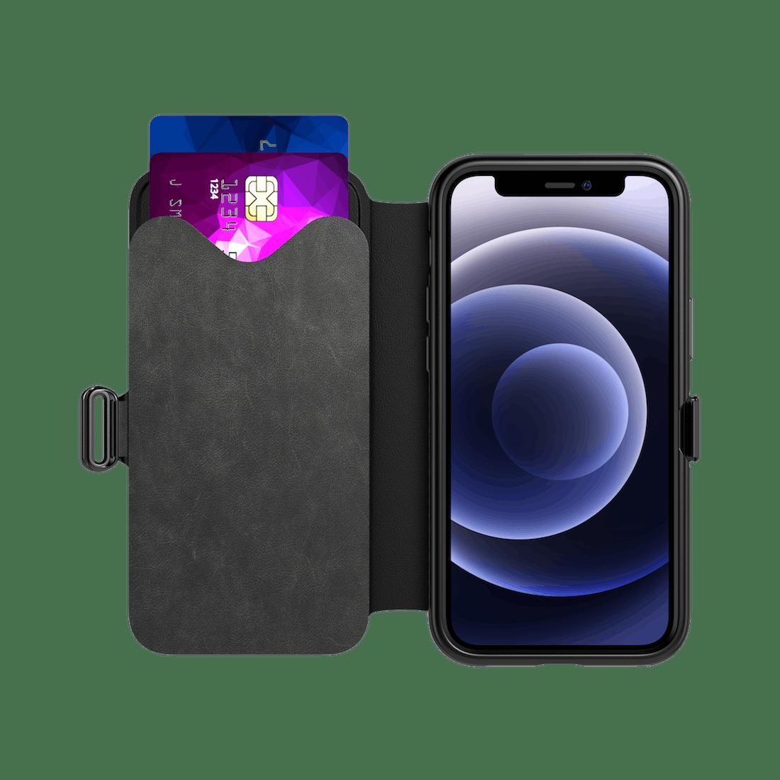 Tech21 iPhone 12 (Pro) Evo Wallet Case Smokey Black